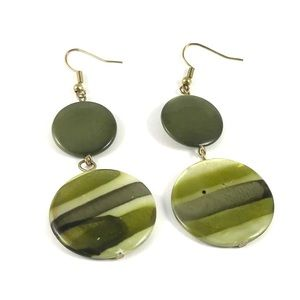 Gorgeous Vintage Green Shell Earrings